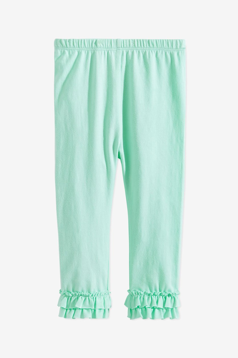 Baby Girls Ruffled-Hem Leggings, Mint Green