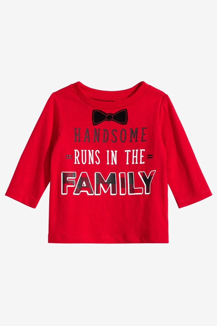 Baby Boys Handsome-Print Cotton T-Shirt, Red