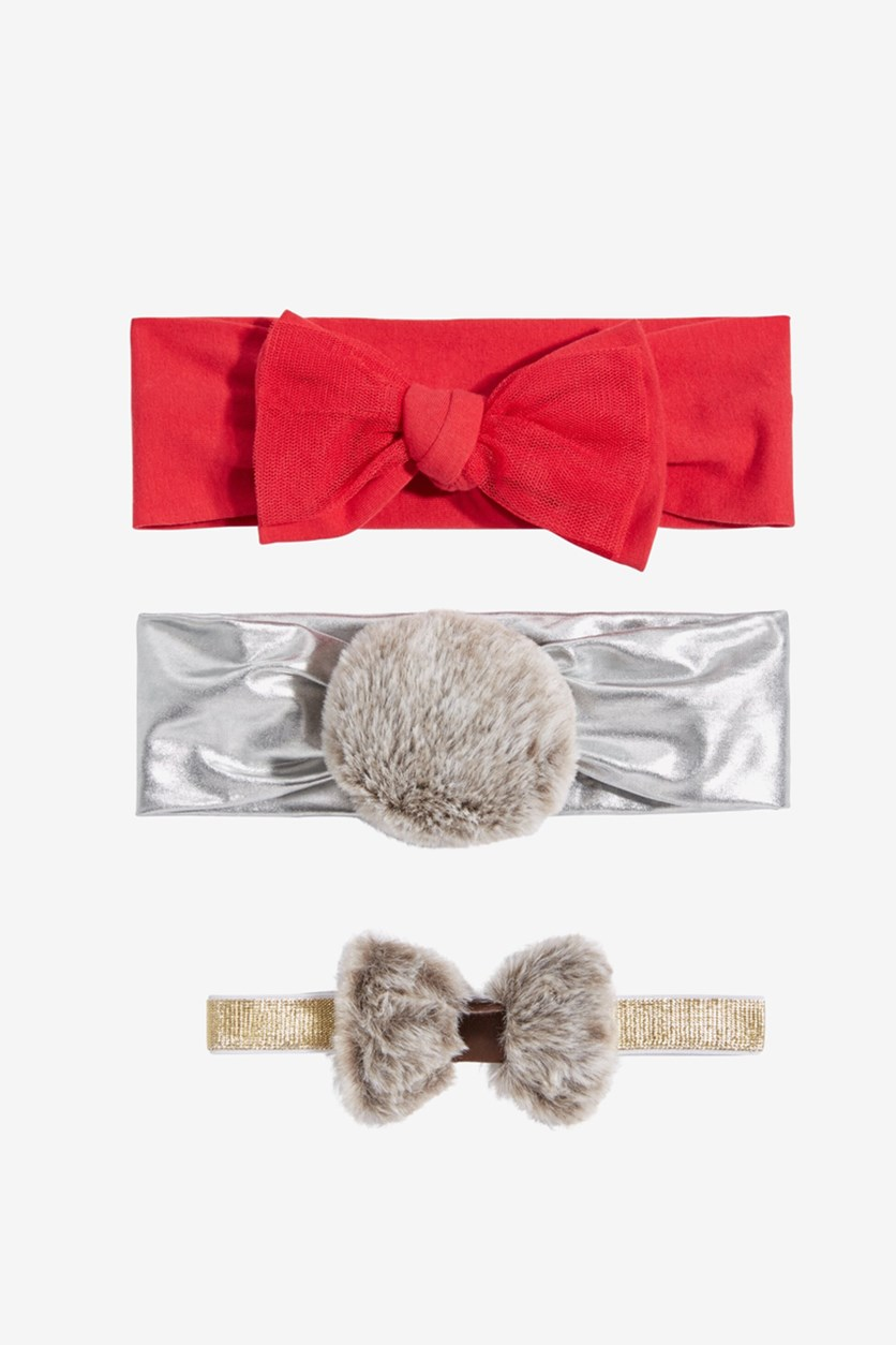 Baby Girls 3-Pk. Faux-Fur & Bows Headbands, Red/Silver/Gold