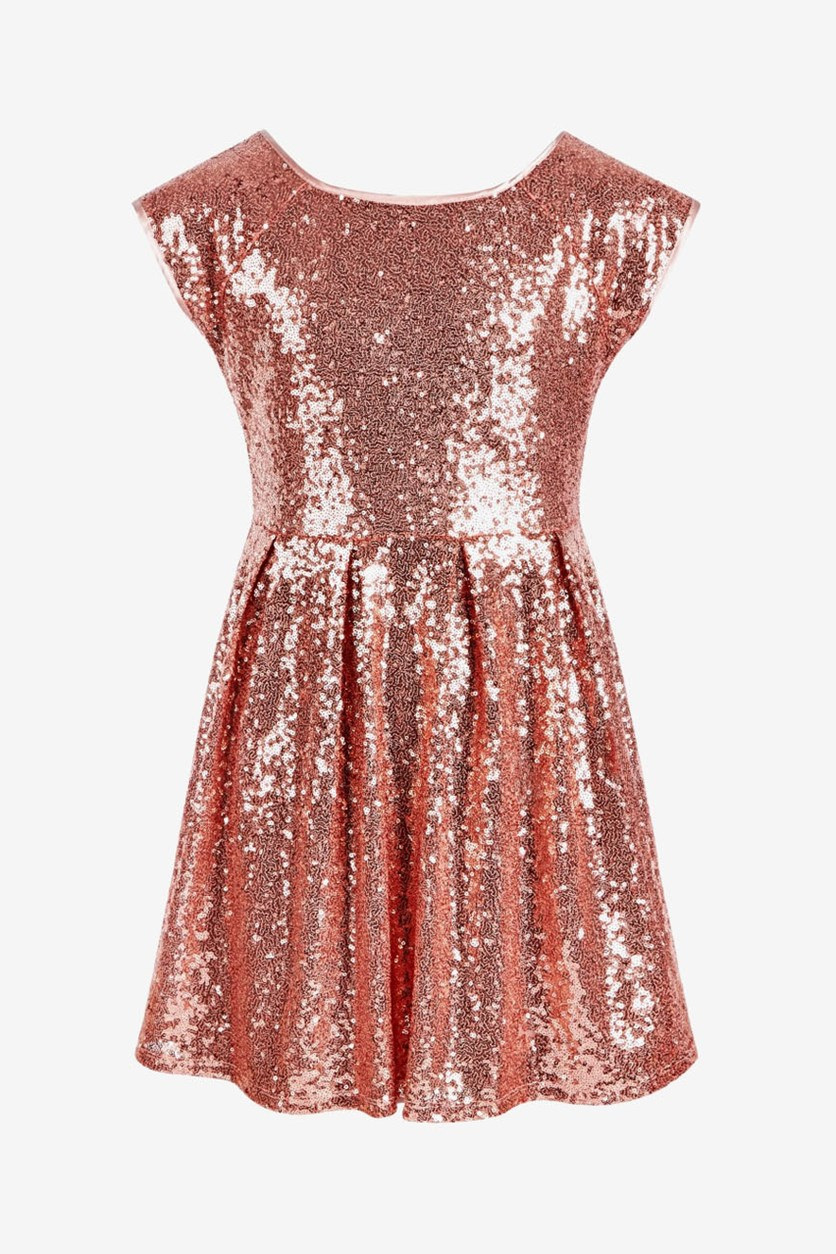 Big Girls Sequined Skater Dress, Rose Gold