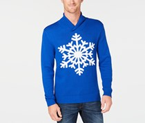 Men's Shawl-Collar Snowflake Sweater, Lazulite