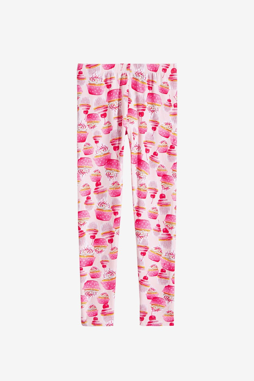Big Girl's Cupcake-Print Leggings, Pink Dogwood