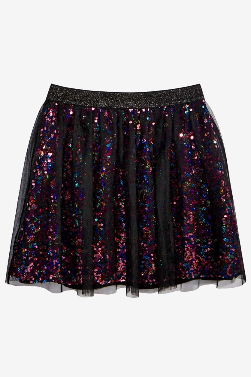 Big Girls Sequin Mesh Skirt, Deep Black