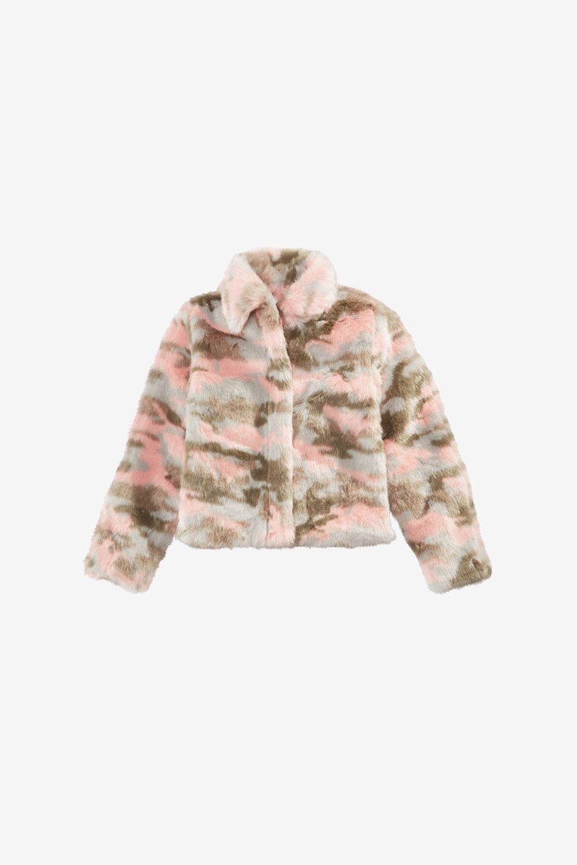 Big Girls Faux Fur Camouflage Jacket, Pink/Grey/Olive