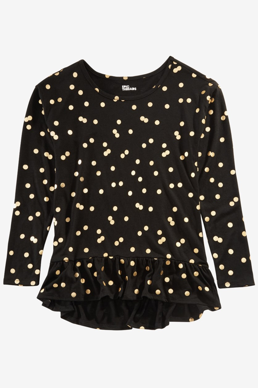 Big Girls Dot-Print Peplum Top, Deep Black/Gold