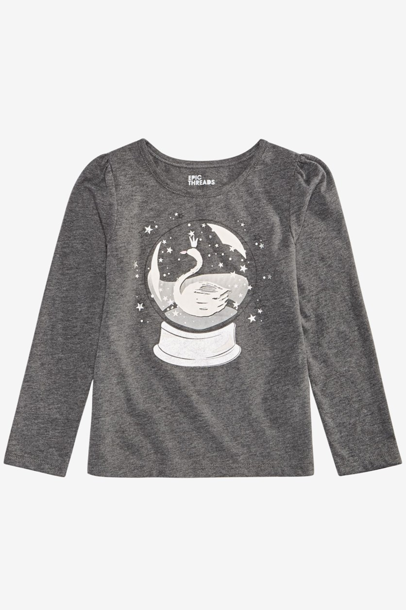 Little Girls Snow Globe T-Shirt, Charcoal Heather