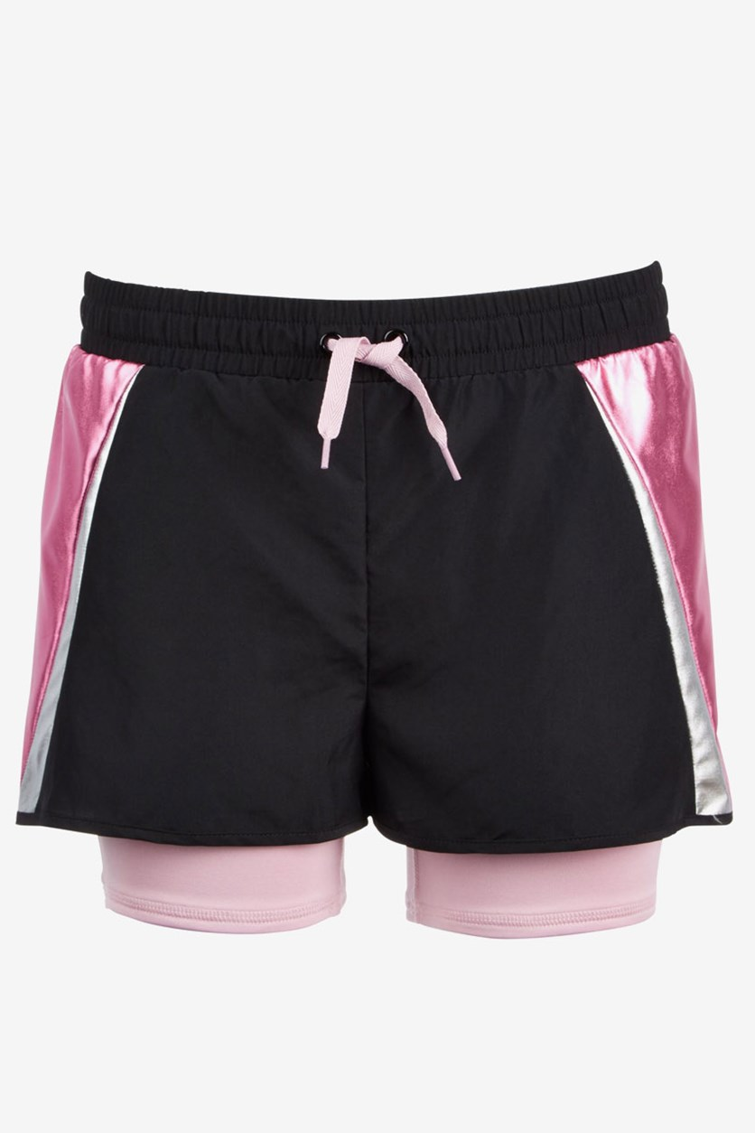 Big Girls Layered-Look Colorblocked Shorts, Black/Pink