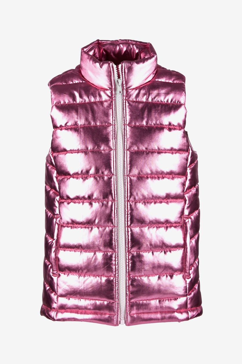 Big Girls Metallic Puffer Vest, Pink