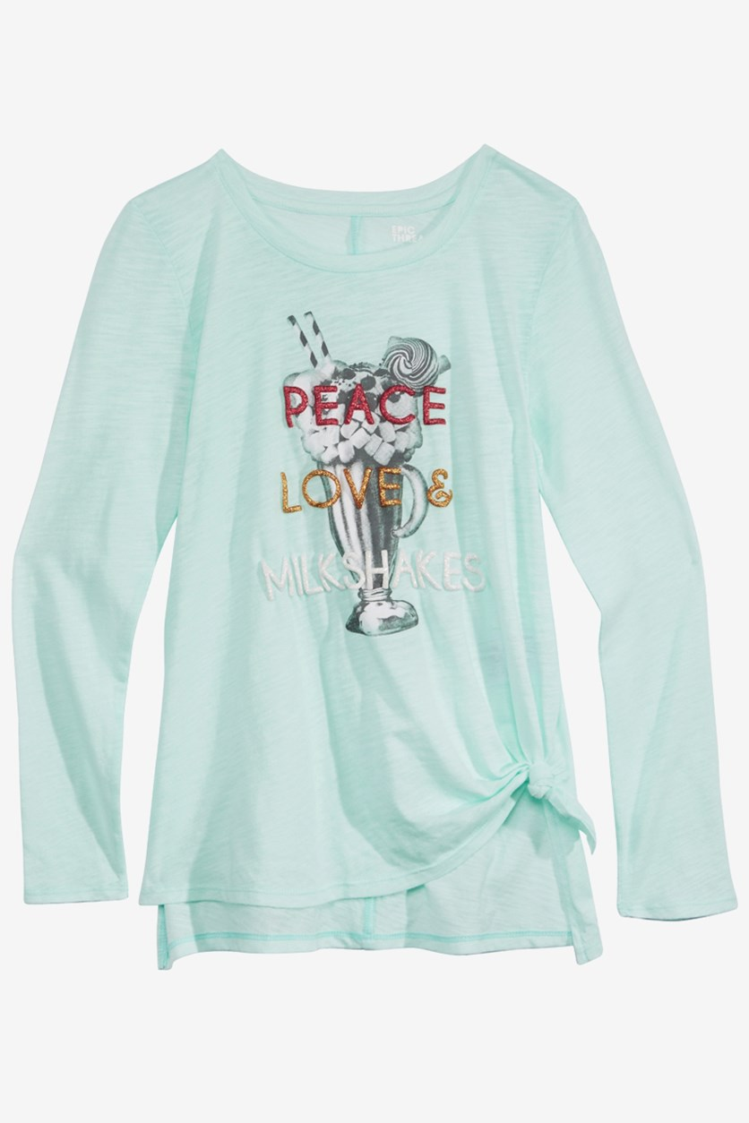 Big Girls Long-Sleeve Side-Tie T-Shirt, Bay