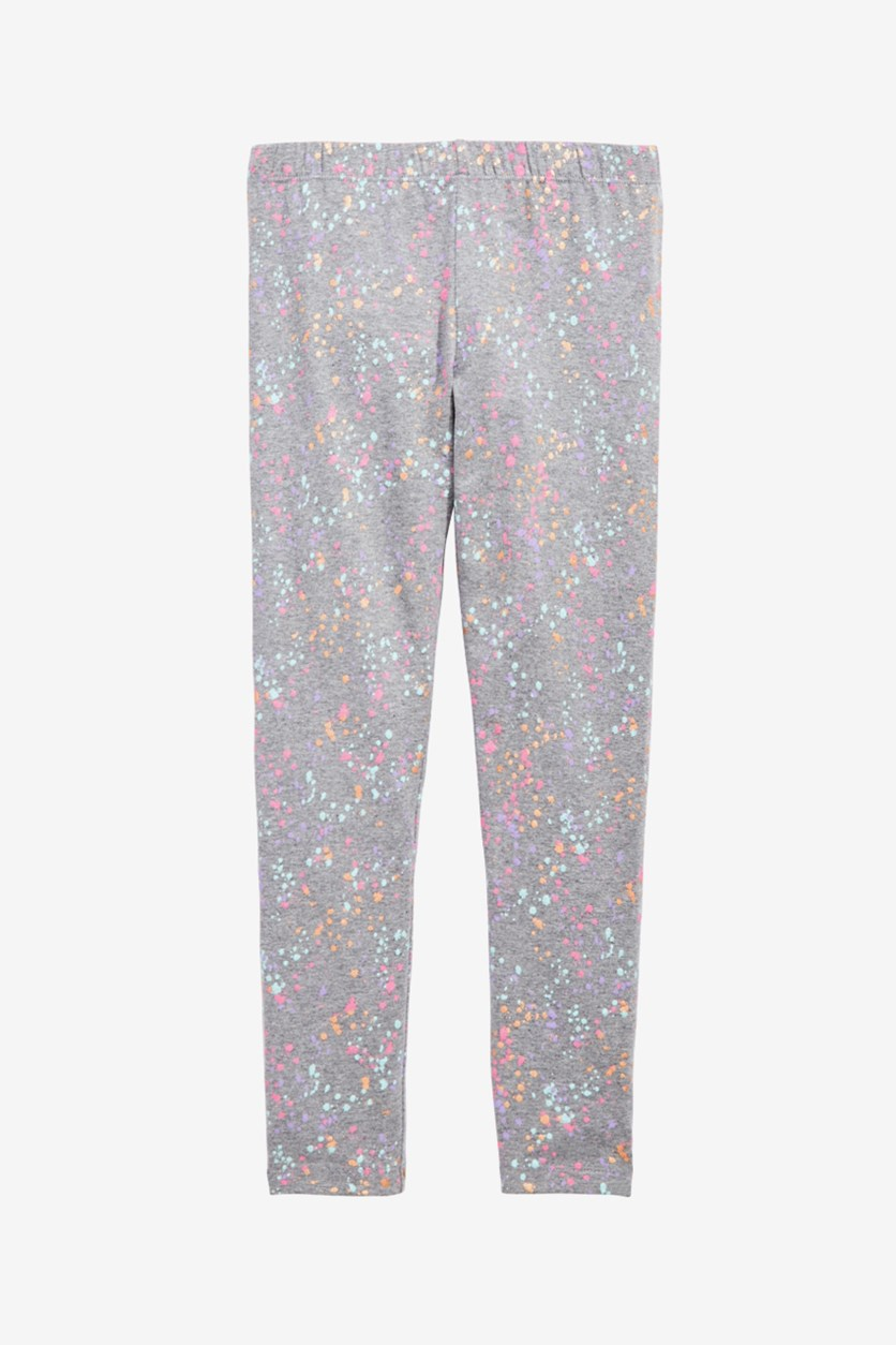 Big Girls Splatter-Print Leggings, Pewter Heather