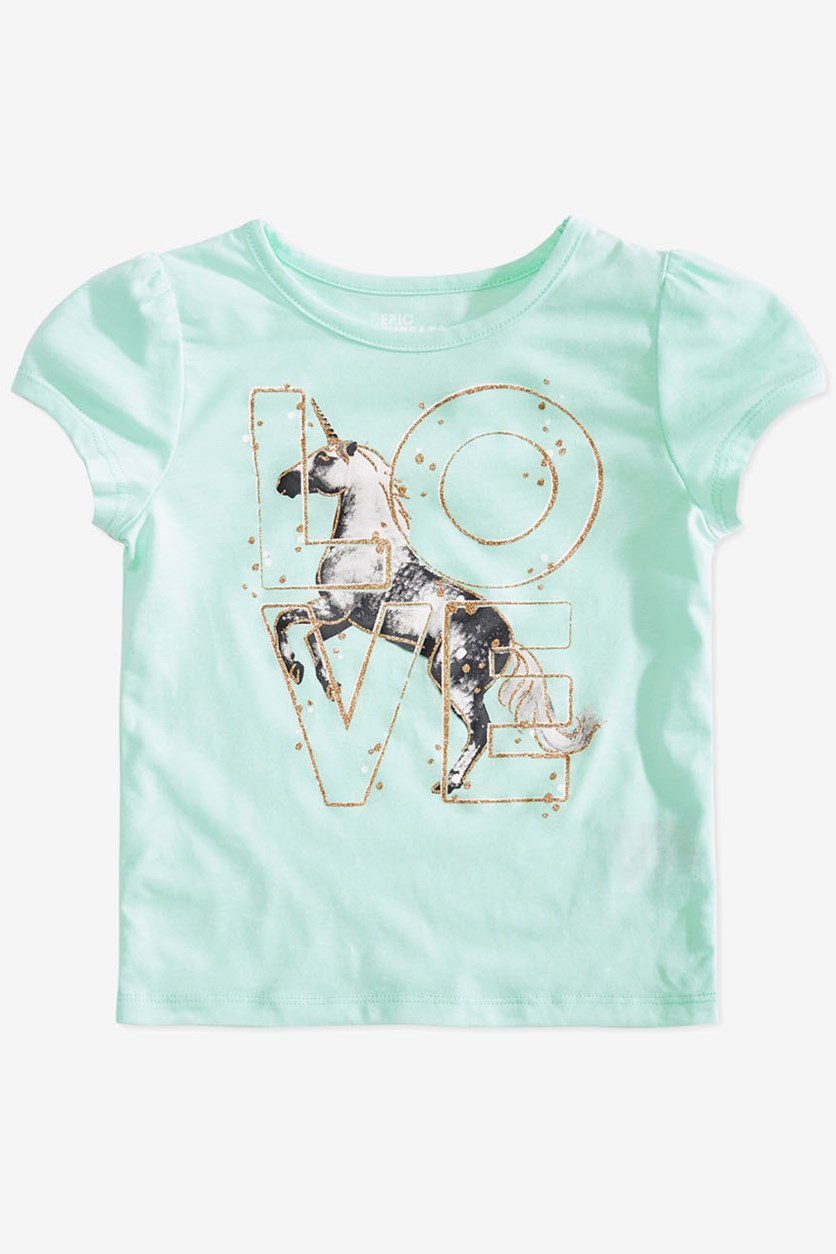 Kids Girls Love Unicorn T-Shirt, Bay