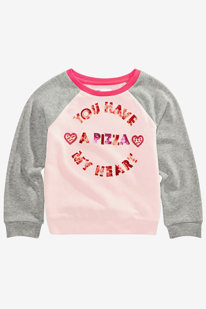 Little Girls Pizza Heart Sweatshirt, Pink/Grey