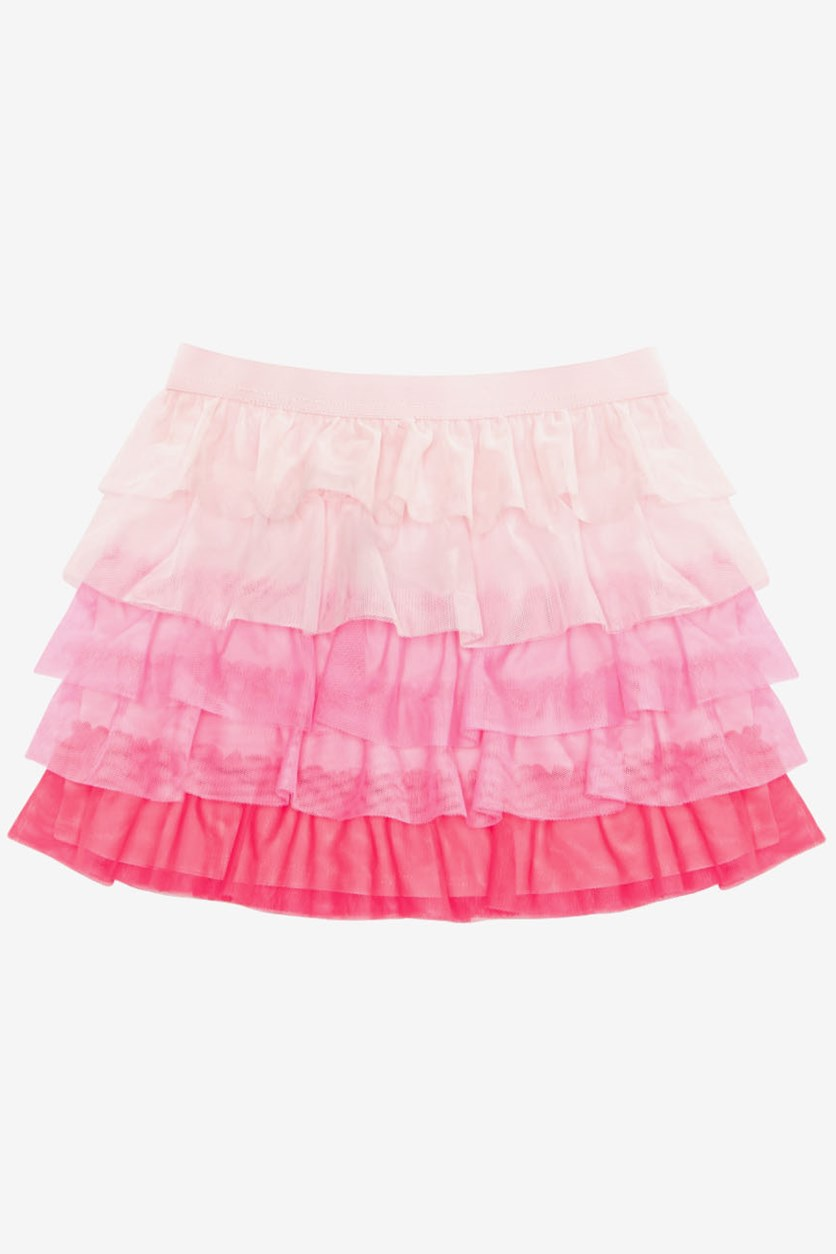 Kids Girls Colorblocked Tiered Ruffle Skirt, Pink Dogwood