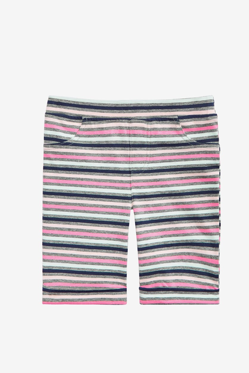 Girl's Striped Bermuda Shorts, Pewter Heather