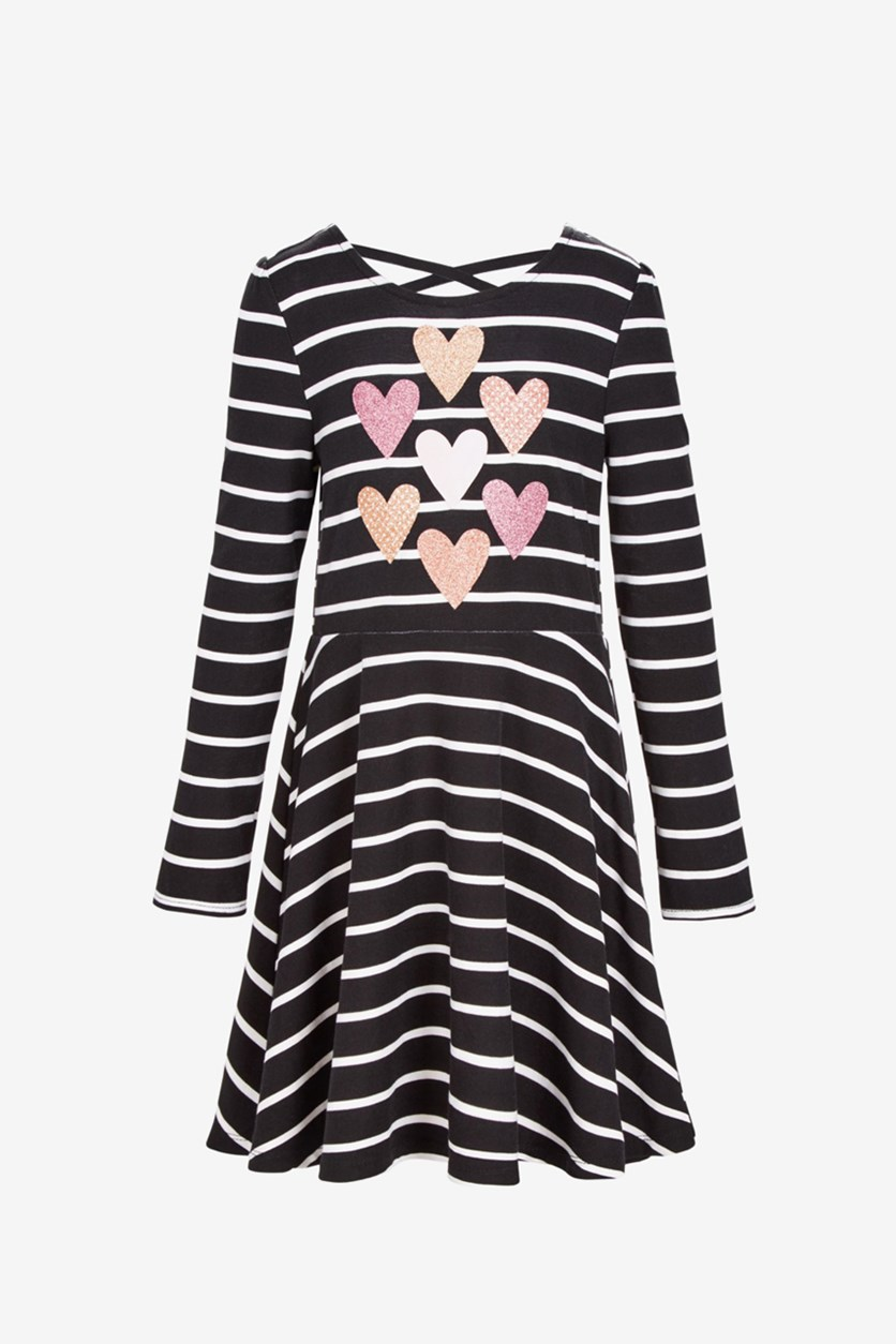 Toddlers Stripes & Hearts Dress, Black