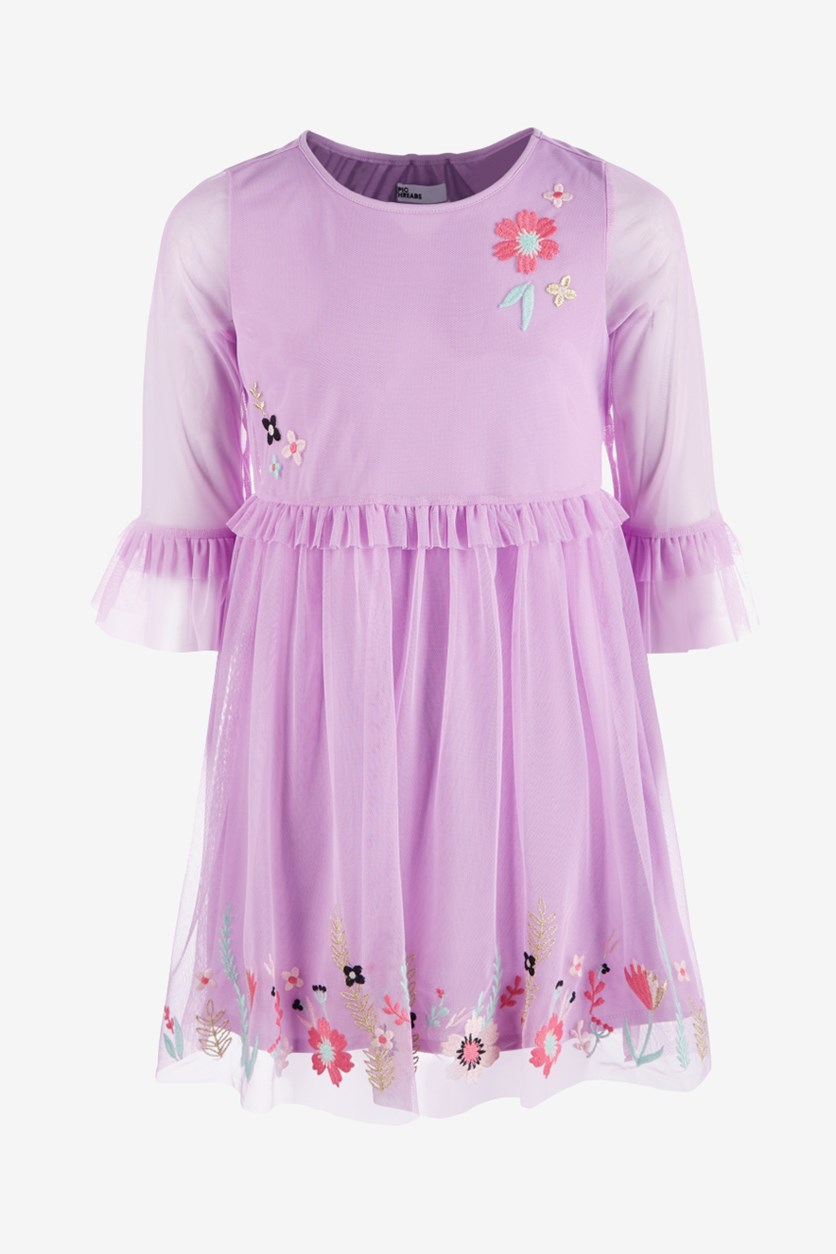 Big Girls Embroidered Mesh Dress, Sheer Lilac