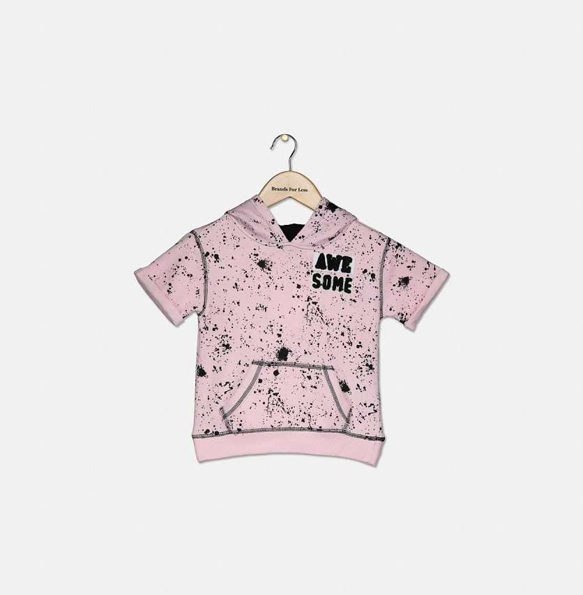 Kids Girl Short-Sleeve Awesome Hoodie, Pink Punch