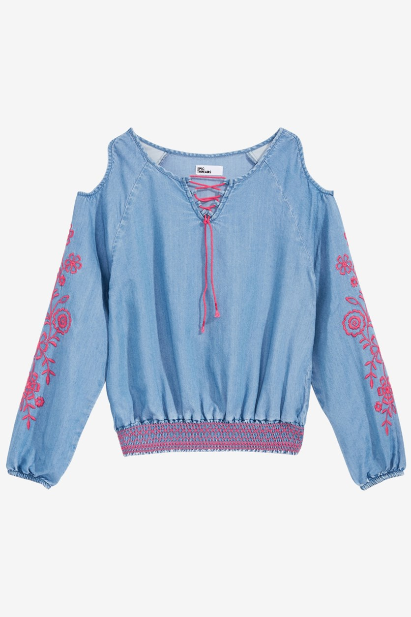 Big Girls Floral Embroidered Long Sleeve Shirt, Light Wash