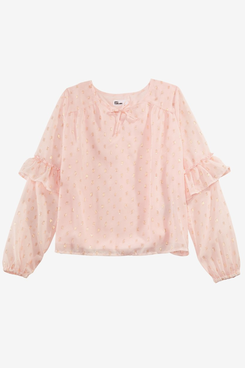 Kids Girls Metallic Top, Pink Dogwood