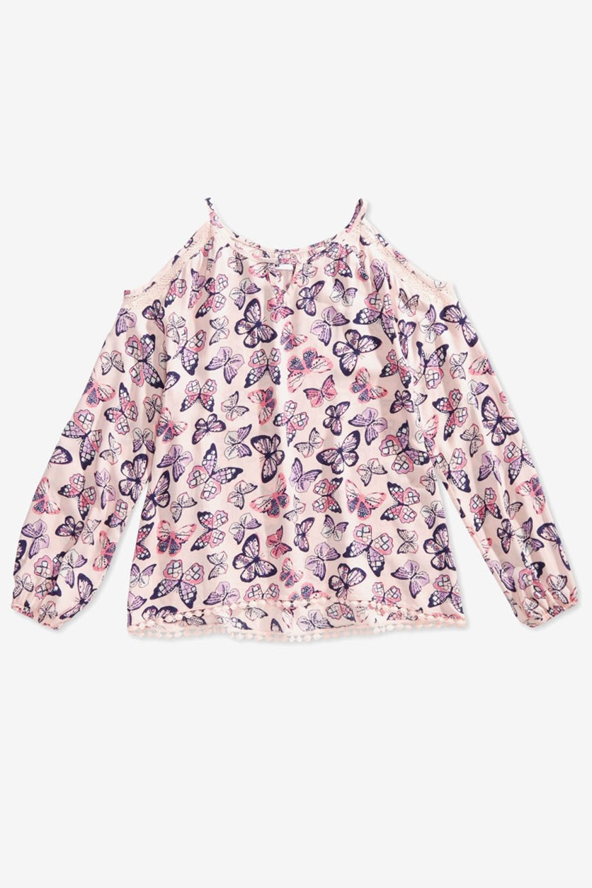 Big Girls Butterfly Print Cold Shoulder Top,