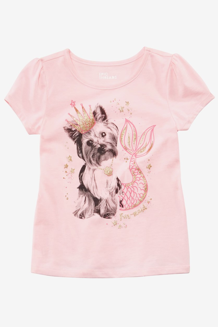 Toddler Girls Yorkie Mermaid-Print T-Shirt, Crystal Rose