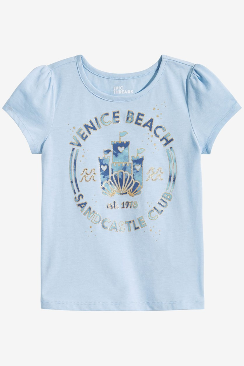 Girl's Graphic T-Shirt, Blue Ashstone