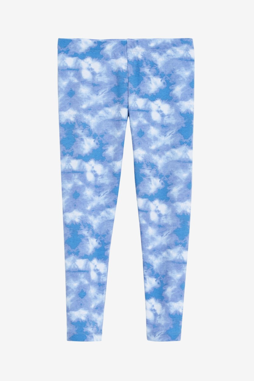 Kid's Girl's Tie-Dyed Leggings, Blue Ashtone