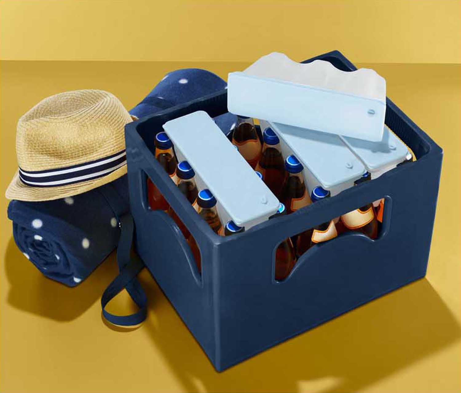 4 Drinks Crate Coolers, Light Blue