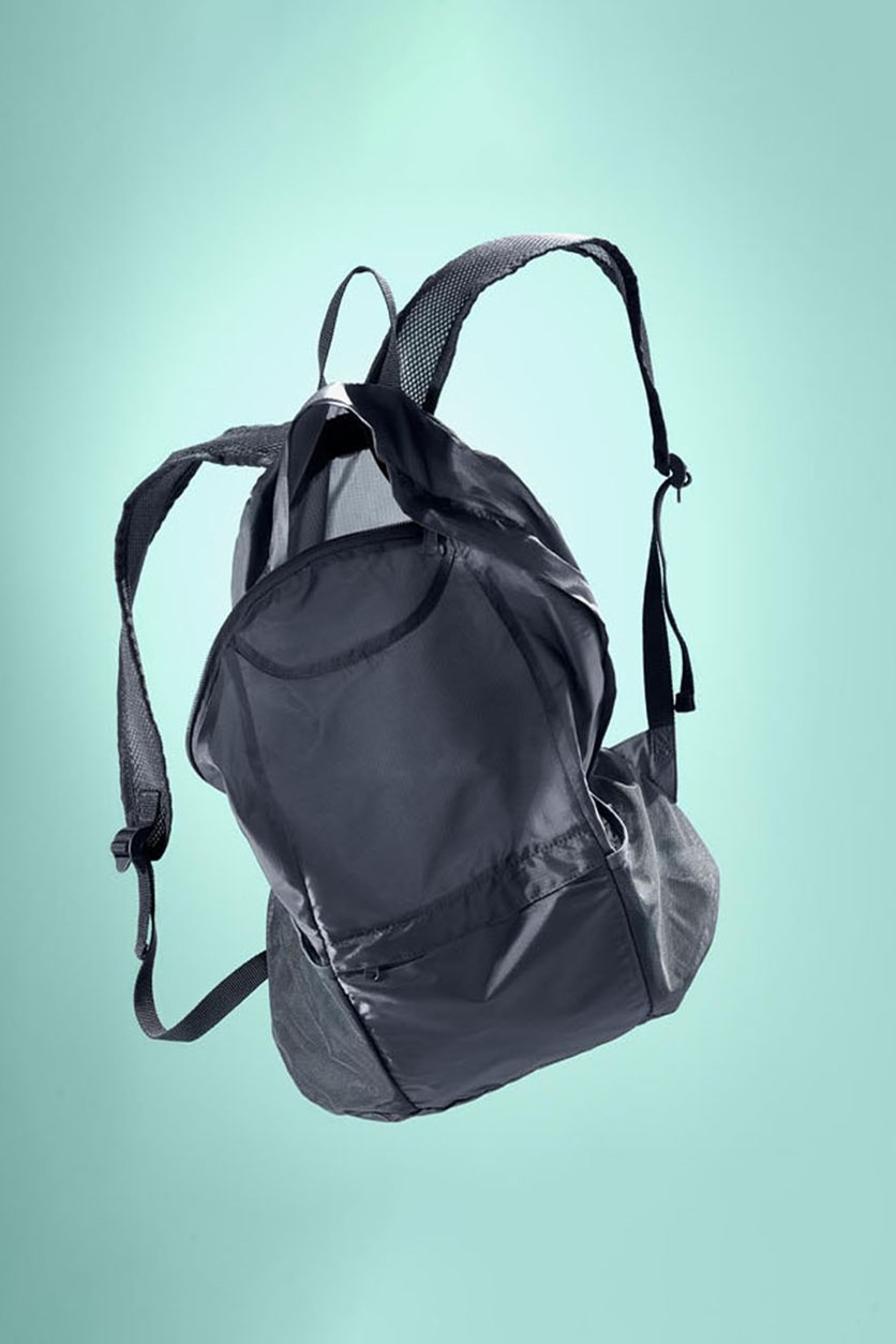 Foldable Backpack, Blue/Gray