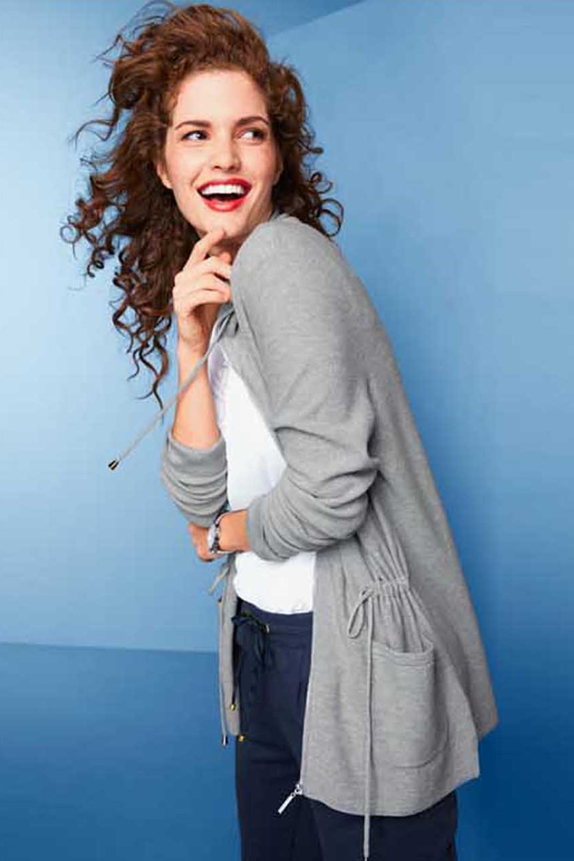 Knitted Cardigan With Zipper, Heather Grey
