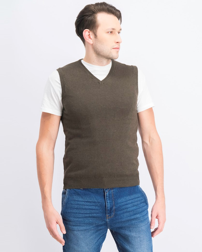 Men's Knitted Vest, Olive