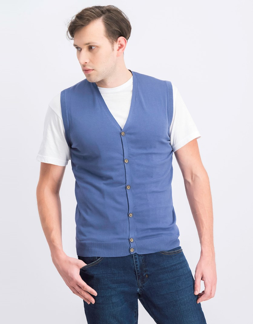 Men's Button Down Vest, Oltremare