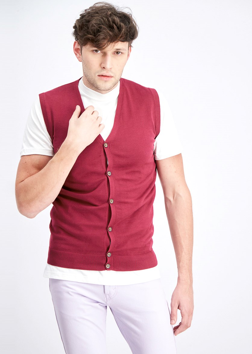 Men's Sleeveless Full Button Cardigan, Dark Red