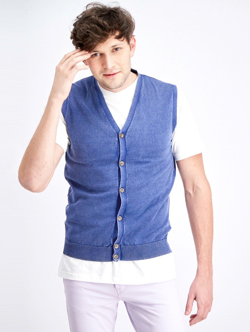 Men's Button Down Vest, Indigo