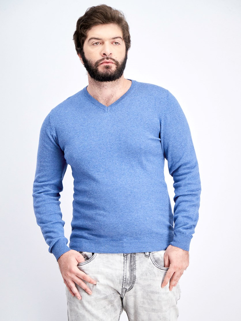 Men's V-Neck Knitted Sweater, Denim