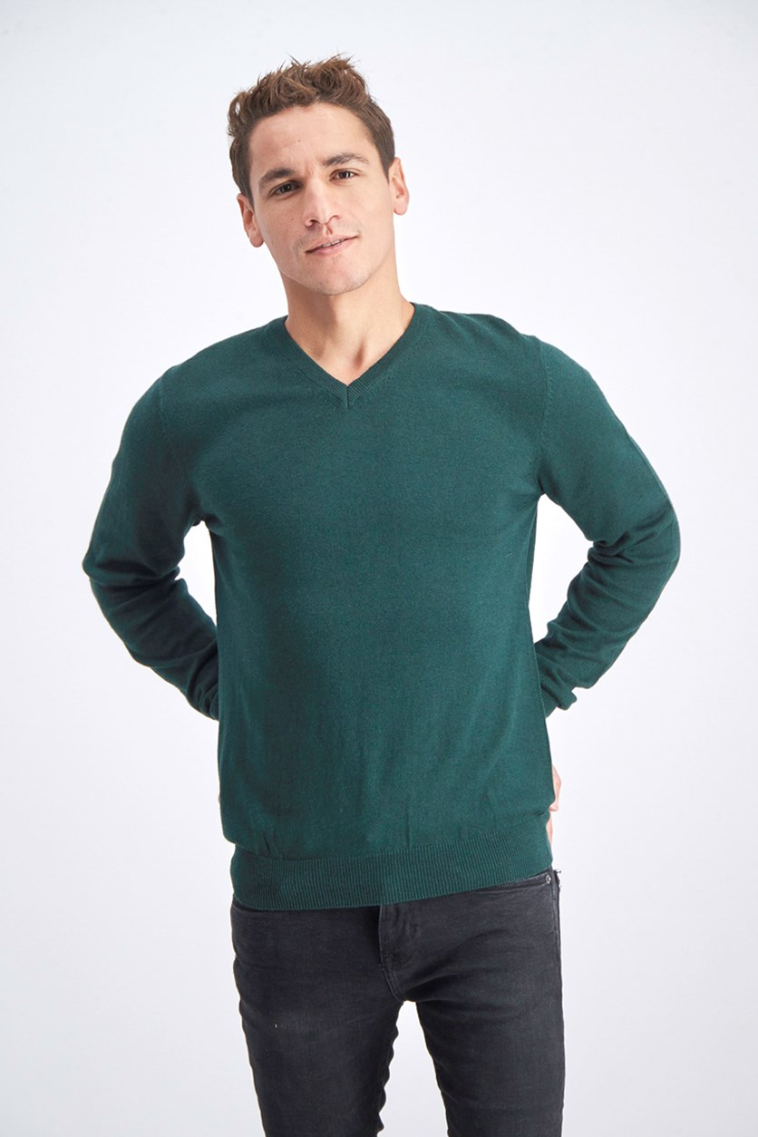 Men's V-Neck Sweater, Forest