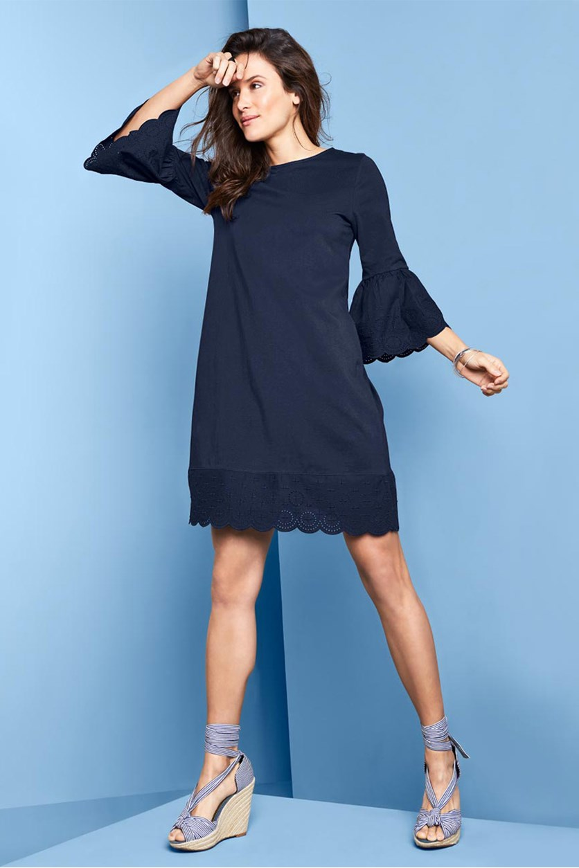 Women's Valance And Hole EmbroideryDress, Navy