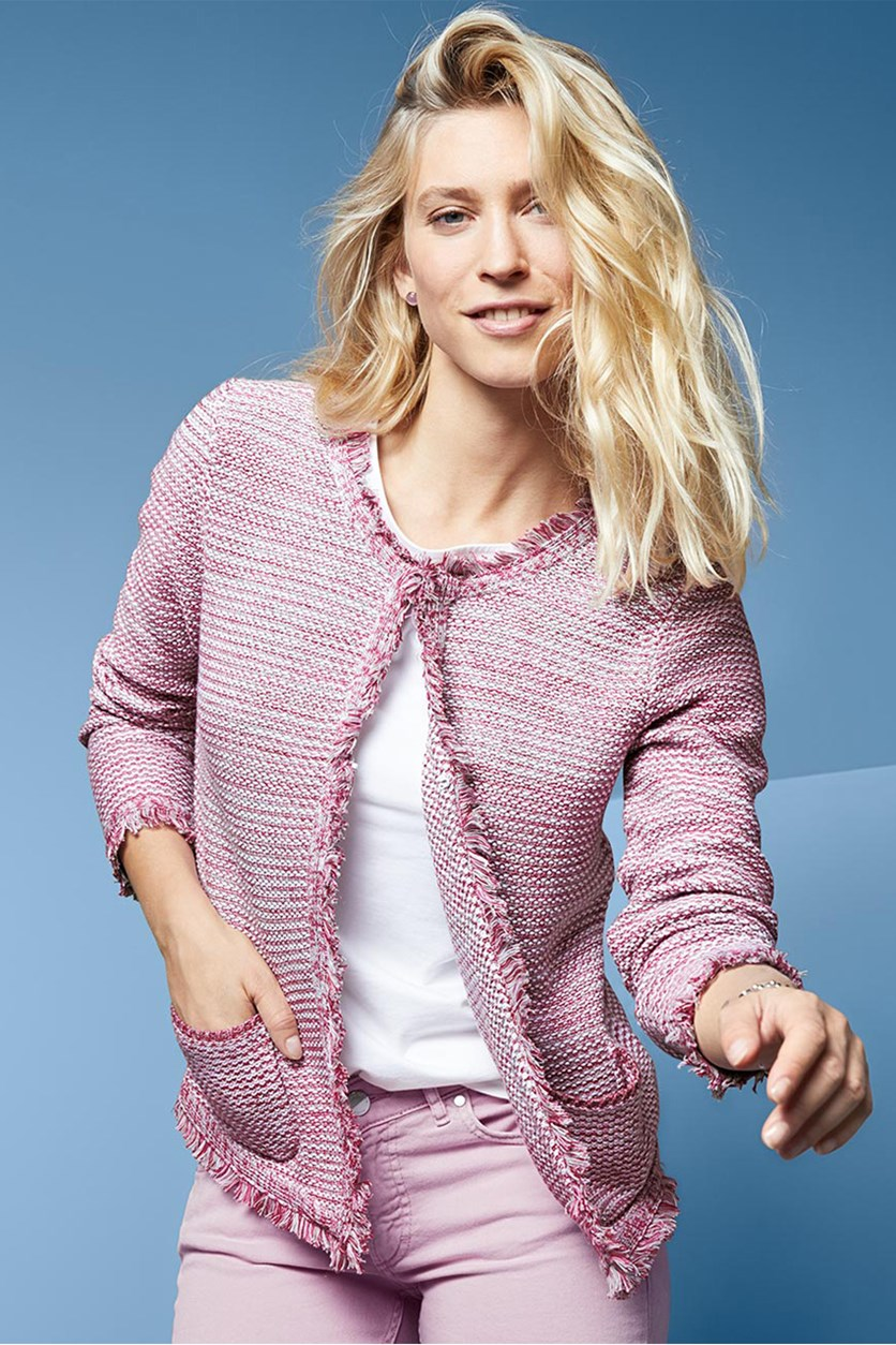 Knitted with Fringes Blazer, Pink/Cream