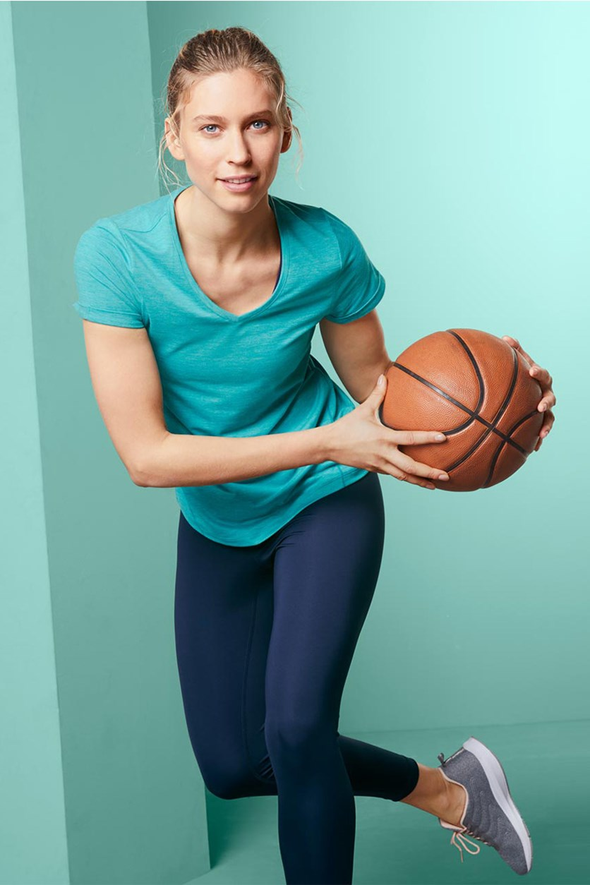 Women's V-neck Sports Top, Turquoise