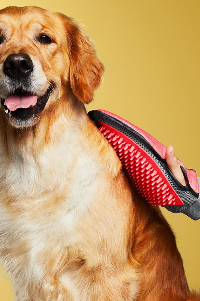 Pet Care Grooming Glove, Neon Red Combo
