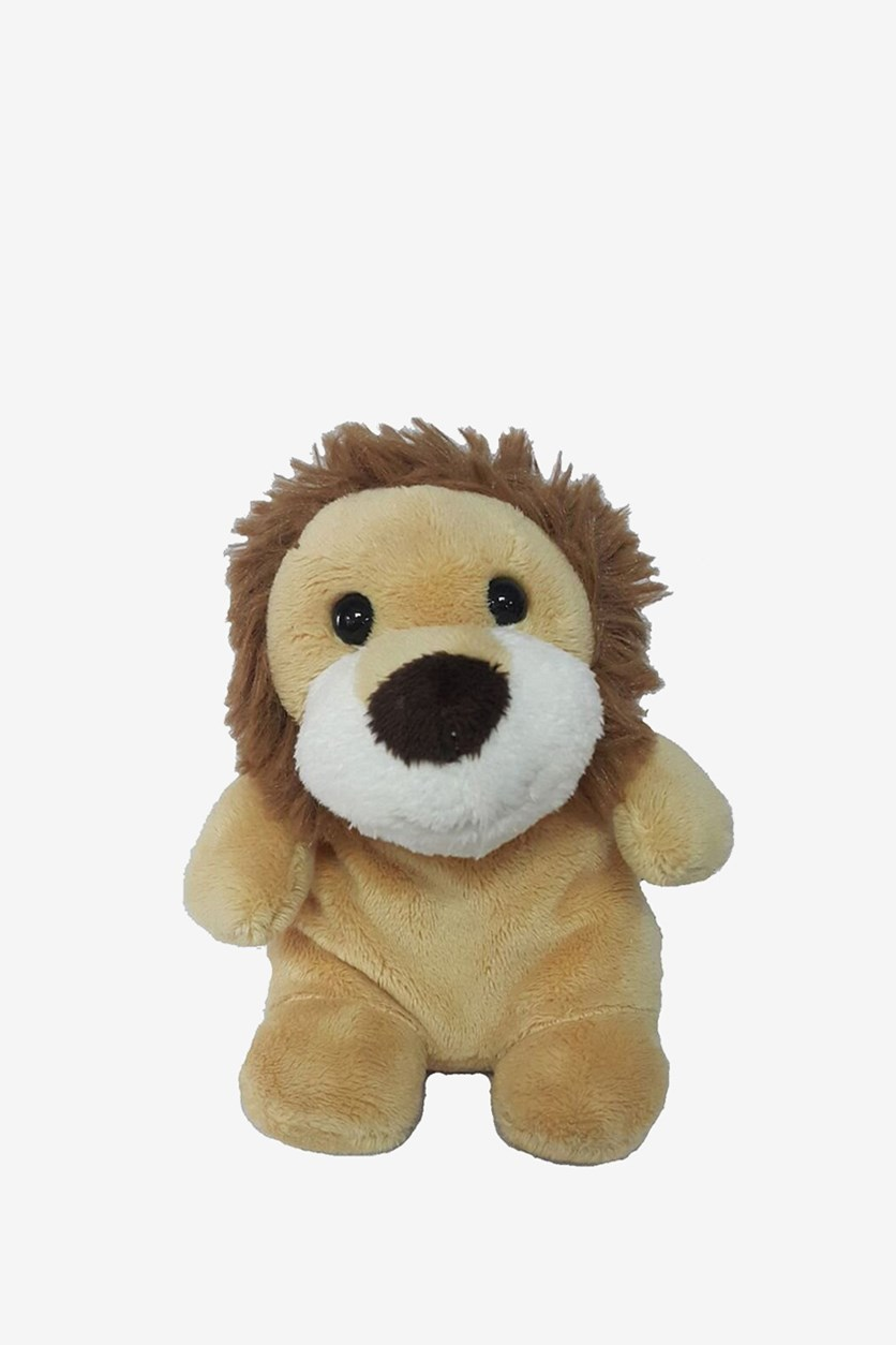 Lion Sitting Beanie Plush Toy, Brown/Yellow