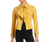 Anne Klein Women's Cropped Linen-Blend Trench Jacket, Yellow