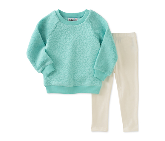 Baby Girls' 2-Pc. Faux-Fur Sweatshirt & Leggings Set, Green/White