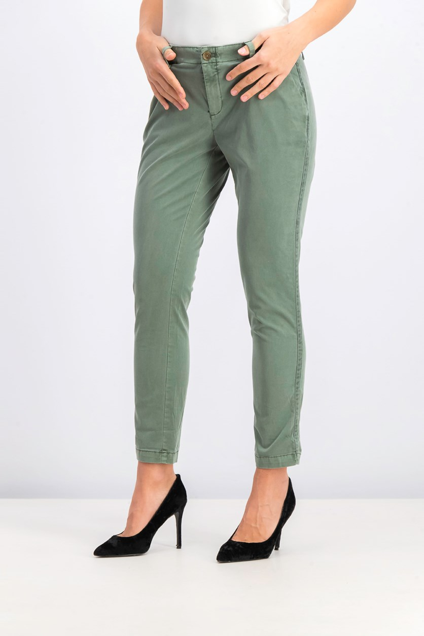 Women's Slim Chino Pants, Cucumber Peel