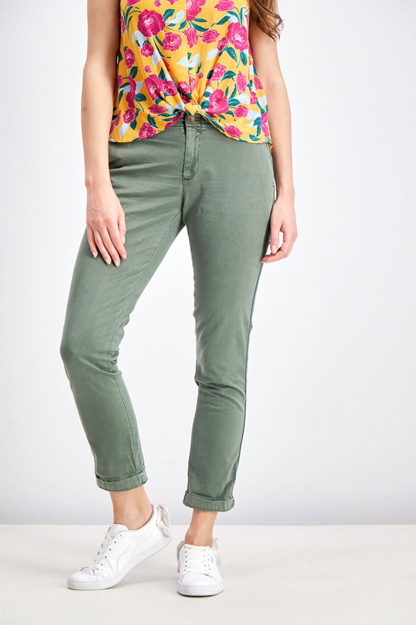 Women's Slim Chino Pants, Green