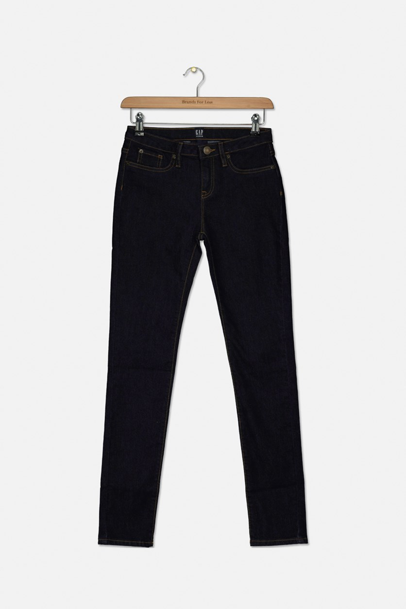 Girls Mid Rise Skinny Jeans, Navy Blue