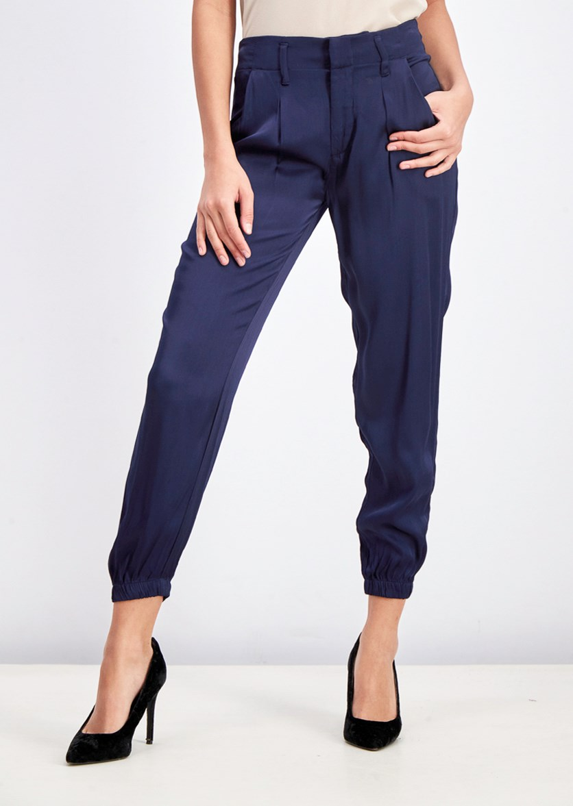 Women's High Rise Drapey Joggers Pants, Navy Blue
