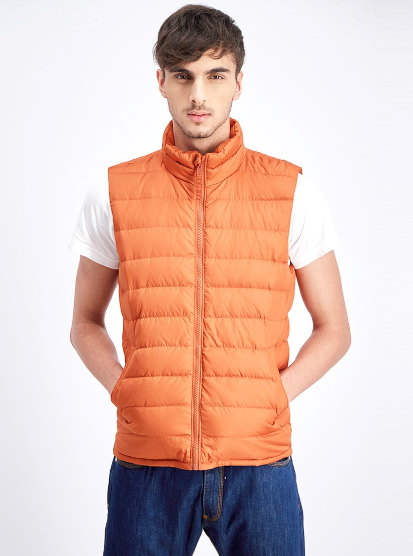 Men's Puffy Vest, Rust