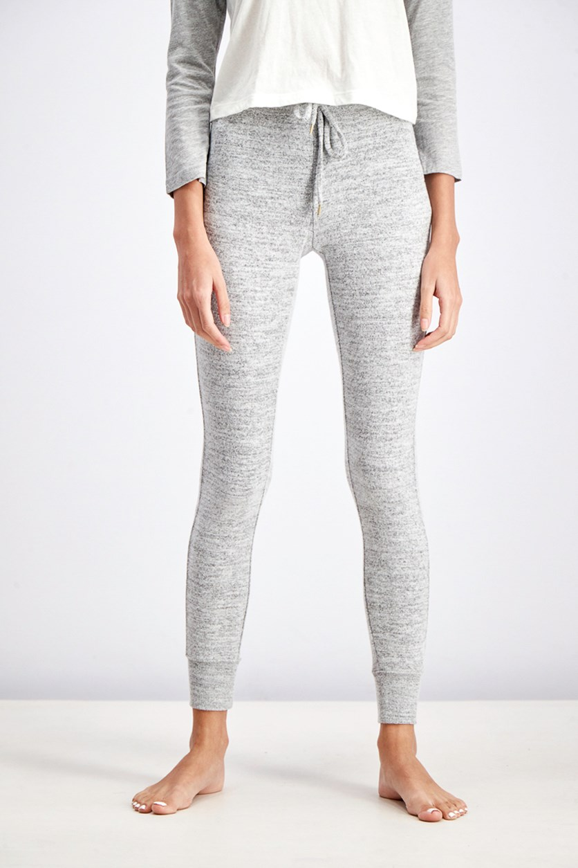 Women's Heather Jogger Sleep Pants, Light Grey