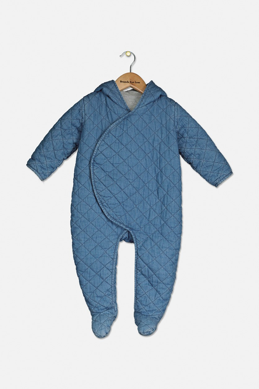 Toddler Chambray Quilted Bodysuit, Blue